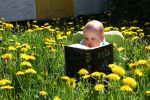 Bruce likes to read in the garden